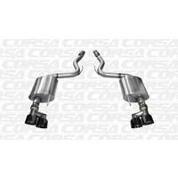 "Corsa Performance ""Sport"" 3 inch Cat back Dual Rear Exit; Twin 4.0"" Black Tips suit 2015+ Mustang GT 5.0litre"