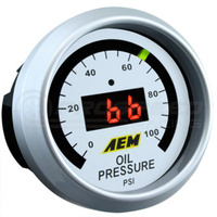 AEM - Oil Pressure Gauge (0 - 100psi) Black Face or White Face