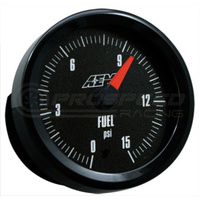 AEM - Fuel Pressure Gauge 0-15PSI with Analog Face Black Face or White Face