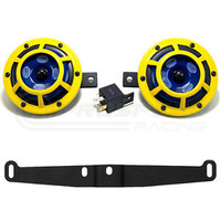 Hella Sharptone Yellow Horns with Perrin Bracket and PnP Harness suit 97-07 WRX STI