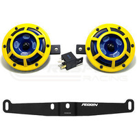 Hella Sharptone Yellow Horns with Perrin Bracket and PnP Harness suit 08-14 WRX STI