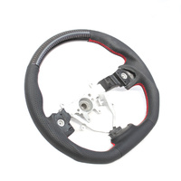 DTM Racing D Shape Steering wheel (08-14 WRX/STI, Lib 07-09, FXT 08-13) Leather & Carbon w/ Red Stitching