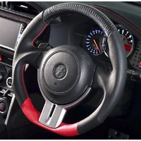 DAMD D-Shaped Steering Wheel Leather Black/Red/Red Stiching + Carbon suit Toyota FT86/Subaru BRZ