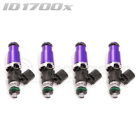 ID1700-XDS Injectors Set of 4, 60mm Length, 14mm Purple Adaptor Top, 14mm Lower O-Ring - Nissan SR20/Toyota 3S-GTE/BMW M3 E30