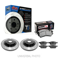 DBA T2 Slotted Rear Rotors w/Hawk Performance HP+ Pads - Ford Focus Inc ST LZ 15-18