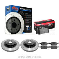 DBA T2 Slotted Front Rotors w/Hawk Performance HPS 5.0 Pads - Audi S3 8V/VW Golf GTI, R Mk7-7.5