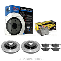 DBA T2 Slotted Front Rotors w/Hawk Performance Ceramic Pads - Mitsubishi Evo 5-9