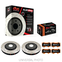 DBA T3 4000 Slotted Rear Rotors with DBA Xtreme Performance Pads - Subaru WRX 08-14/FXT 08-13/Impreza/Toyota 86 GT