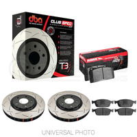DBA T3 4000 Slotted Rear Rotors w/Hawk Performance HPS 5.0 Pads - Audi S3 8V/VW Golf GTI, R Mk7-7.5