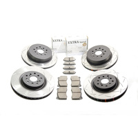 DBA T2 Slotted Front/Rear Rotors with Dixcel Type ES Pads - Subaru WRX 01-07