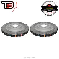 DBA T3 4000XD Wave Series Drilled/Dimpled Rear Rotors - VW Golf GTI/R Mk5/6/7/Passat/Scirocco/Audi A3/S3/RS3/TT