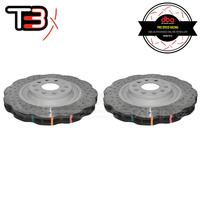 DBA T3 4000XD Wave Series Drilled/Dimpled Front Rotors - VW Golf GTI/R Mk7/Passat B7/B8/Audi A3 8V/S3 8V/TT 8J/TT 8S