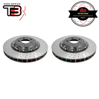 DBA T3 5000XD Series 2-Piece Drilled/Dimpled Front Rotors PAIR - Ford Mustang GT FM/FN 15-19 (6 Piston Brembo)