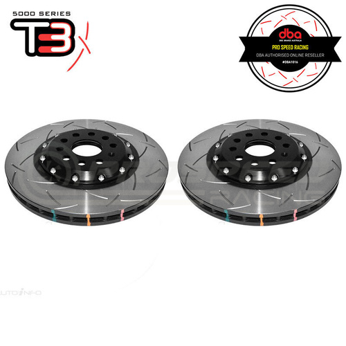 DBA T3 5000 Series 2-Piece Slotted Front Rotors PAIR  - VW Golf GTI/R Mk7/Passat B7/B8/Audi A3 8V/S3 8V/TT 8J/TT 8S